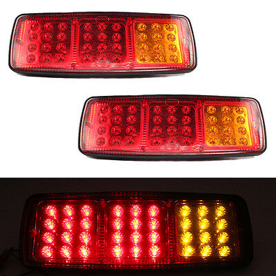 2PCS 36 LEDS 24V Truck Rear Tail Lights Stop Turn Signal Lamp Red Yellow For Caravan Car Auto Rear Light