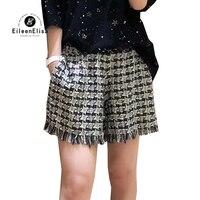 women shorts summer 2018 autumn casual plaid tweed shorts high waist elastic waist ladies short shorts fashion
