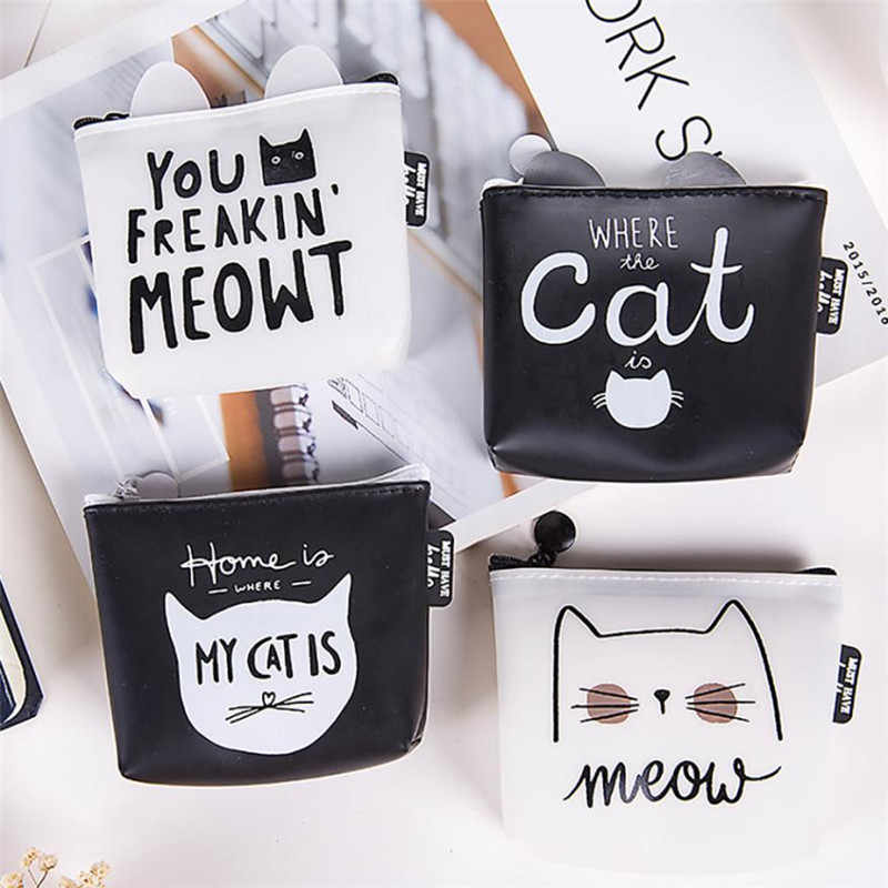 Cute Cat Animal Women Coin Purse Mini Small Clutch Card Holder Bags Wallet Carteira Femme Feminina Mujer Girl Teenager