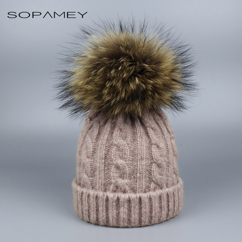 New Real Unisex Skullies Children Raccoon Fur Ball Winter Hat Knitted Pom Pom Cap kids Beanie Child Boy Girl Wool Hats Beanies skullies