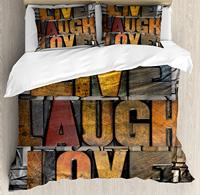 Live Laugh Love Duvet Cover Set King Size Saying Promoting The Sacred Values Human Life Colorful a Pattern Bedding Set
