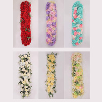 1Pcs/lot 1M Road Cited Artificial Flowers Row Wedding Decor Flower Wall Arched Door Shop Flower Row Window T Station Christmas