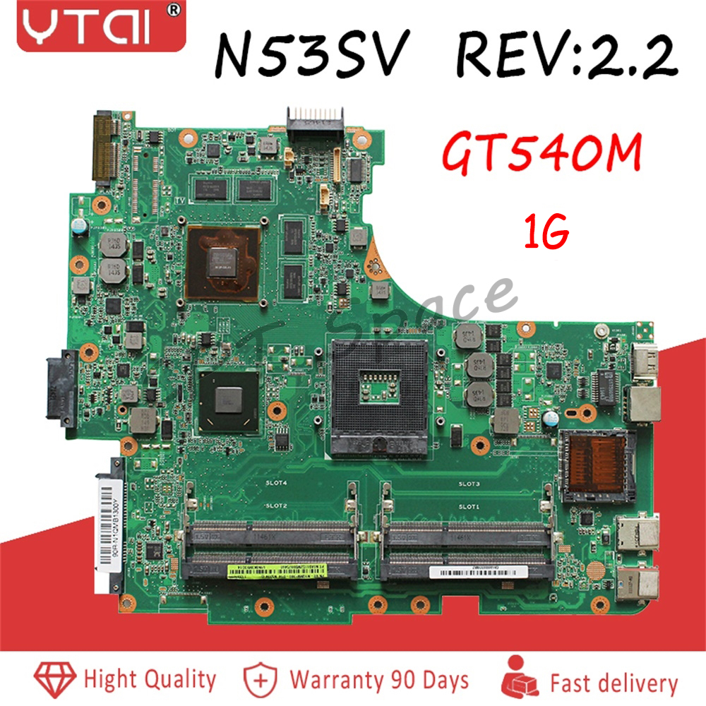 N53SV Motherboard Gt540m Rev:2.2  For Asus N53SV N53S N53SV N53SN Laptop Motherboard Rev:2.2 DDR3 DDR3 100% Tested Inta
