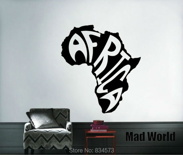 mad world africa map continent wall art stickers wall decal home diy decoration removable bedroom
