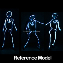 YEAHUI LED Light Clothing EL Wire Suits Illuminated Costumes EL Clothes Neon Light for Dance Glowing Party Decoration