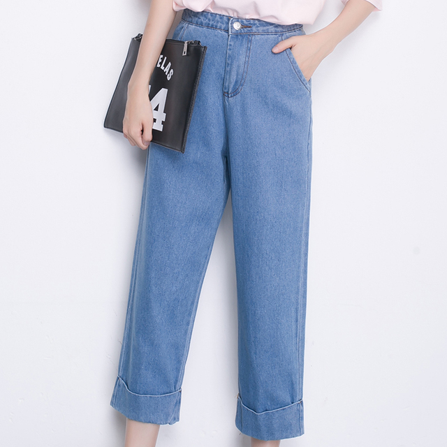 J2FE219 #6029 Kesebi 2016 Otoño Las Mujeres de Corea Del Estilo Becerro de longitud Puños Ocasionales Flojos Pantalones Anchos de La Pierna Femenina de Mezclilla pantalones Vaqueros