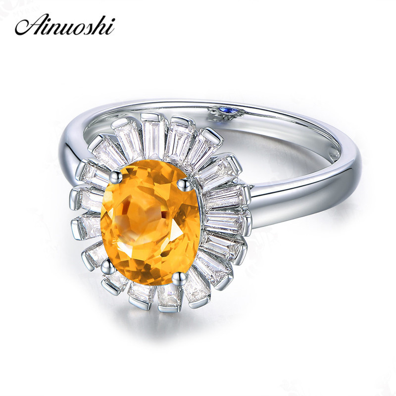 AINUOSHI Natural Citrine Sunflower Ring 1.25ct Oval Cut 925 Sterling Silver Ring Engagement Wedding Jewelry Elegant Women RingAINUOSHI Natural Citrine Sunflower Ring 1.25ct Oval Cut 925 Sterling Silver Ring Engagement Wedding Jewelry Elegant Women Ring