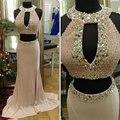 Sexy Champagne Prom vestidos com pérolas Halter decote duas peças vestidos 2016 Backless sereia vestidos de baile