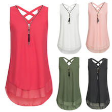 Vrouwen Losse Mouwloze Tank Top Cross Terug Zoom Layed Rits V-hals T Shirts Tops CC #(China)