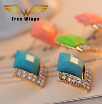 F/&U Jewelry Square Rectangle Cut Color-Changing Crystal Sterling Silver Stud Earrings
