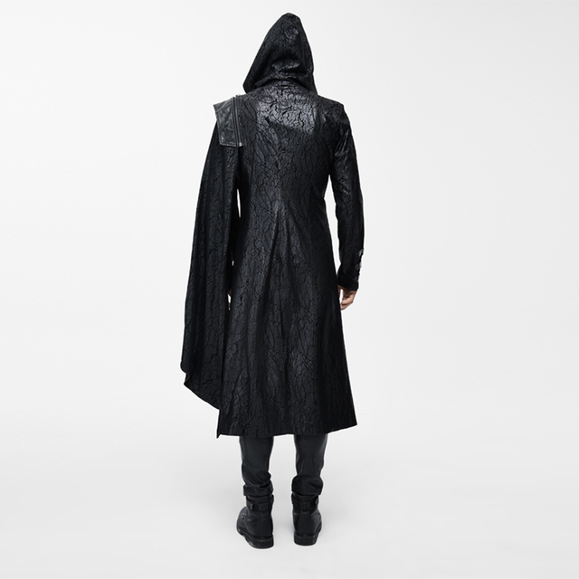 PUNKOOL British Warm Gothic Trench Men Pea Coat Hooded ...   Mens Trench Coat With Hood