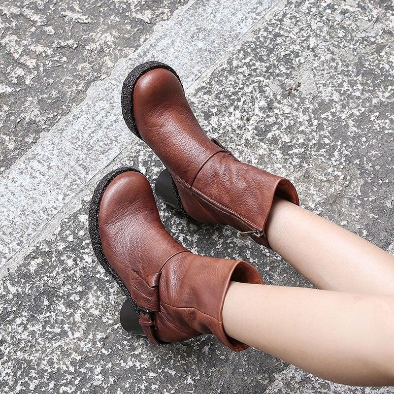 2018 VALLU nouveauté Haute Talon Femmes Bottes Bout Rond À La Main Vintage chaussures confortables bottines pour femme