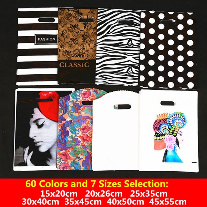 10pcs 15x20 20x26 25x35 30x40 35x45 Plastic Gift Bag Jewelry Shopping Bag Cartoon Kids Birthday Party Decoration Supplies Favors
