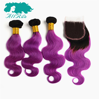 Allrun מראש בצבע T1B/אור סגול רמי גל גוף ברזילאי עם סגירת תחרה 100% שיער אדם Weave 3 חבילות משלוח חינם