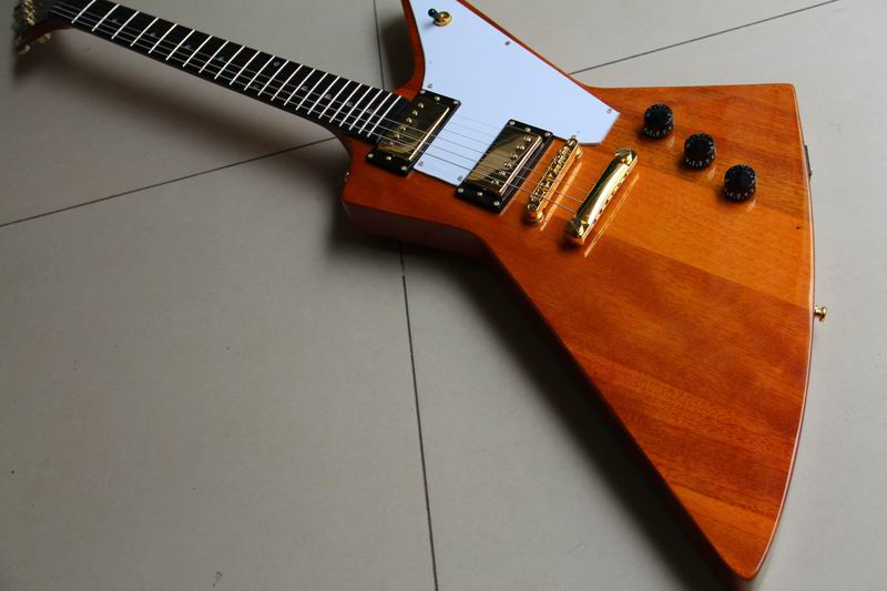 Wholesale G Custom Explorer Model Electric guitar mahogany body / neck top quality in Natural wooden 111008 customised electric guitar lp model with floyd black mahogany body and neck high grade build in customer specs way