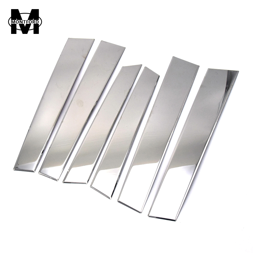 MONTFORD Stainless Steel Window Trims Center Pillars B + C Pillar Covers 6Pcs Fit For Honda CRV CR-V 2007 2008 2009 2010 2011 for honda crv cr v 2017 2018 stainless steel inner