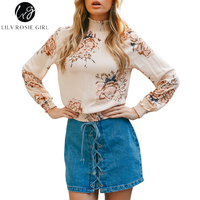 Lily Rosie Girl Stand Collar Print Women Casual Blouse Long Sleeve Crop Floral Shirts Spring Summer