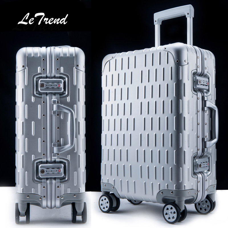 Letrend 100% Aluminum Alloy Rolling Luggage Spinner Women Trolley Travel Bag 20 inch Men Business Carry On Suitcases Wheel Trunk