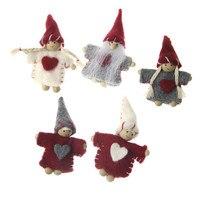 มาใหม่5ชิ้น/ล็อตKawaiiน่ารักทอถักขนสัตว์รู้สึกคริสต์มาสซานตามาตราแม่มดงานฝีมือตุ๊กตา