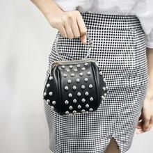 Free shipping black pink luxury rivets sweet charity cluch evening bag fashion handbag for women drop shipping