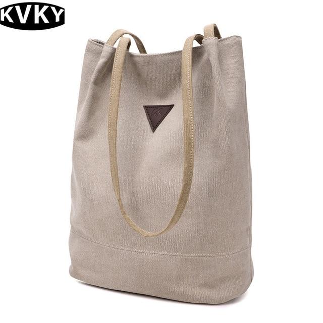 300b99af37 KVKY Woman Canvas Bag Travel Handbag long tote shopping bags Shoulder Bag  Large Capacity Crossbody Bags