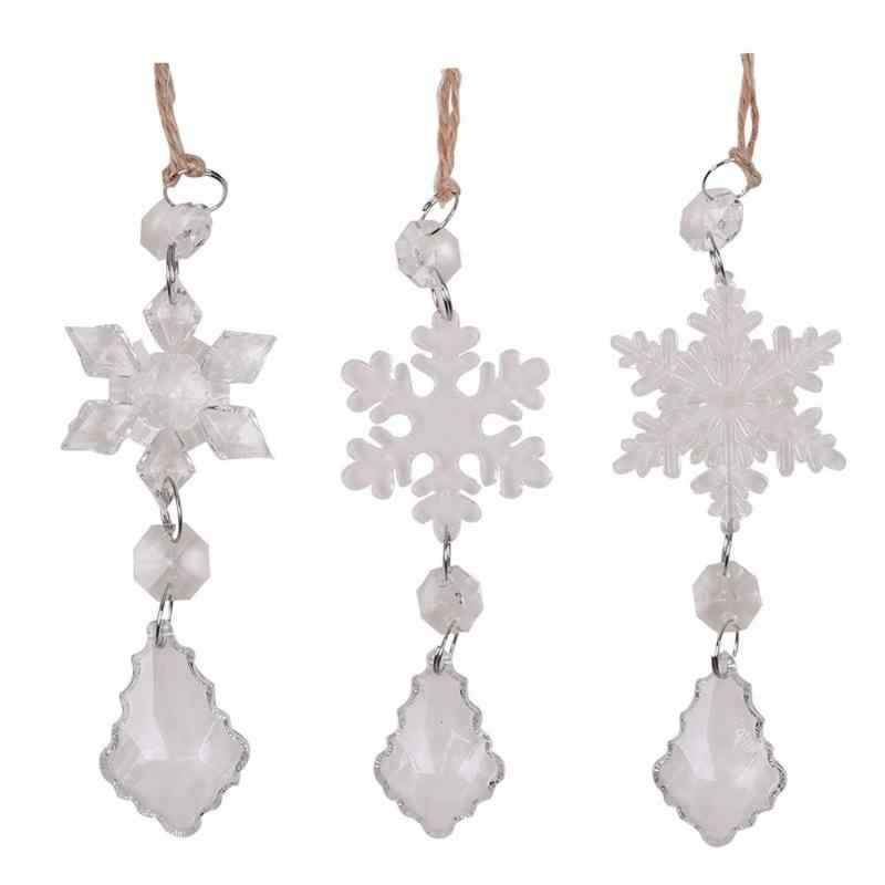 3pcs Snowflake Tree Pendant Crystal Ornaments Wedding Christmas Decor Gift Christmas Tree Decoration Xmas Pendant Party Supplies