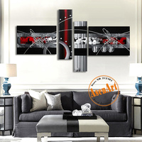 Hand Painted Oil Painting Large Gray Abstract Art Painting Modern Canvas Painting 4pcs Wall Art Picture