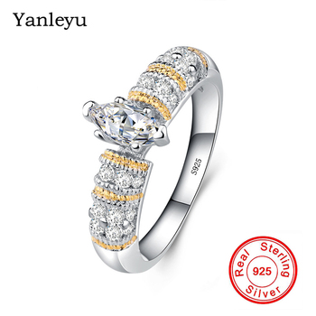 Yanleyu Big Discount Wedding Rings for Women Authentic Solid 925 Sterling Silver Finger Engagement Ring Gold Color Jewelry PR052