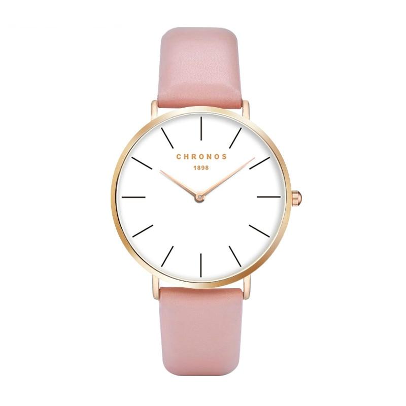 Nya armbandsur för kvinnor Quartz PU Läder Alloy Ladies Watch Klocka Timer Relogio feminino Timepiece klockor