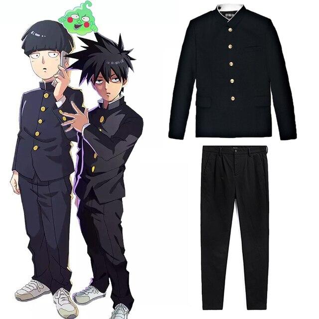 อะนิเมะMob Psycho 100ชุดคอสเพลย์Kageyama ShigeoสีดำกางเกงUnisex GakuranชุดMobu Saiko Hyaku