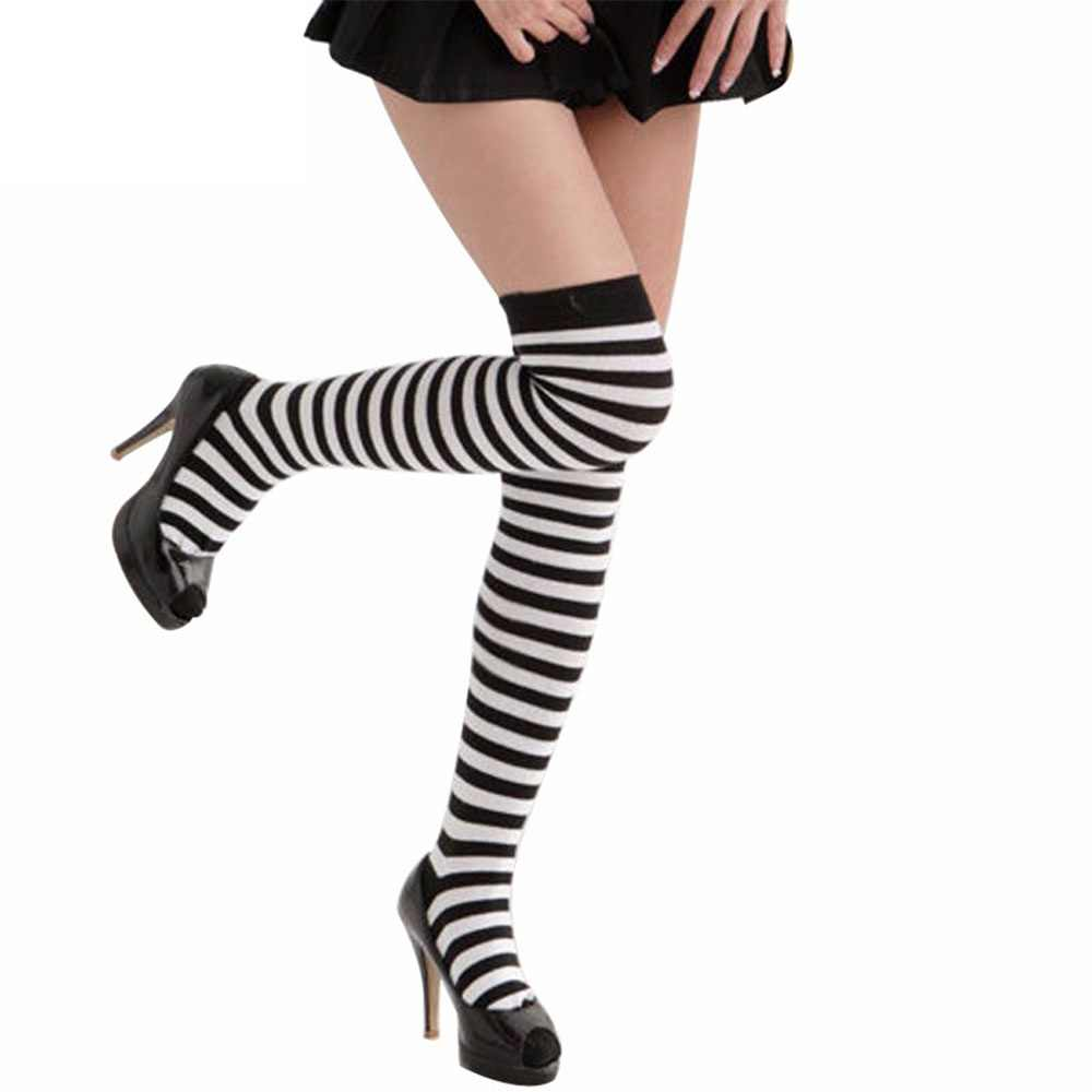 deea564a3 1Pair Sexy Fashion Black White Striped Autumn Winter For Women Ladies Over  The Knee Socks Stockings