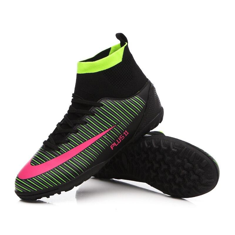 Haute cheville hommes chaussures de Football TF/FG/AG longues pointes d'entraînement bottes de Football chaussures résistantes crampons chaussures de Football pas cher - 2