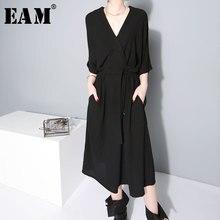 [EAM] 2018 Новый Осень Зима V-вырез горловины Половина рукава Bandgae свободные темперамент свободные большой Размеры шифоновое платье Для женщин Мода JF733