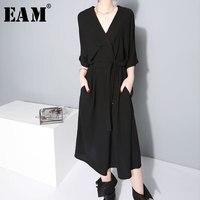 [EAM] 2019 New Spring winter V collar Half Sleeve Bandgae Loose Temperament Loose Big Size Chiffon Dress Women Fashion JF733