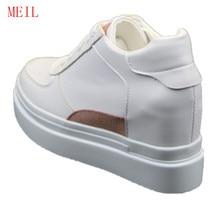 Купить с кэшбэком White Women Platform Sneakers Hidden Wedge 8 CM Heels Ladies Shoes Calzado Mujer Tenis Casual Shoes Women Chaussures Femme