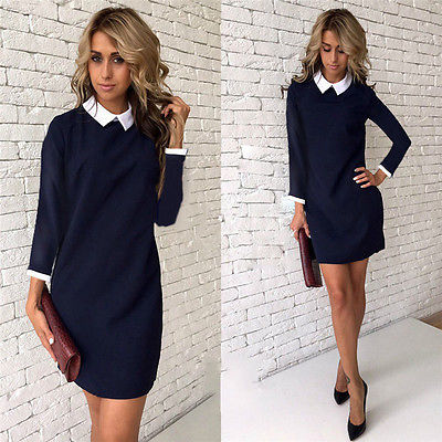 School Preppy Style White Collar Short Sleeve Summer Mini Dresses Summer Cute Peter Pan Collar Ladies Office Vestidos