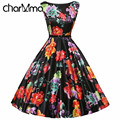 CharMma Spring Women Black Floral Print Bohemian Vintage Dress Sleeveless Back Zipper Floral Print Ball Gown Midi Belt Vestido