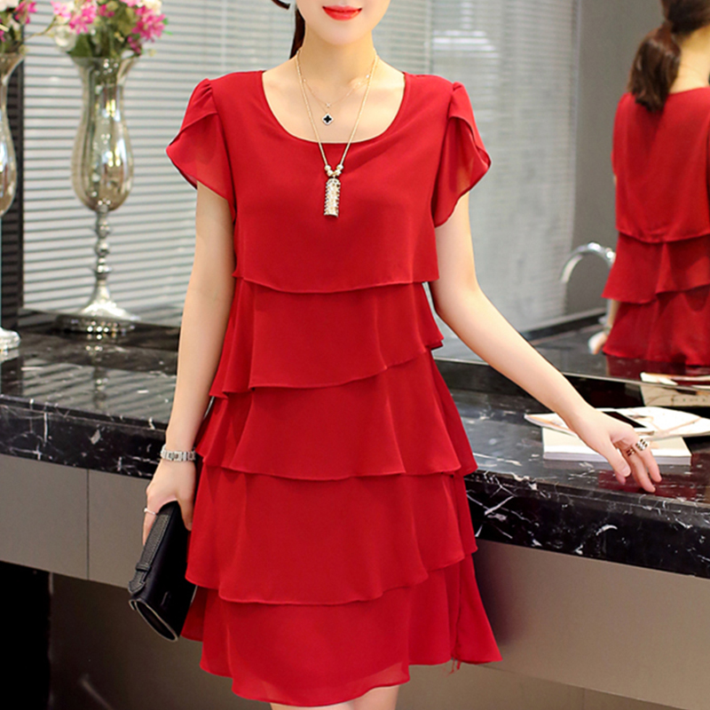 Summer Chiffon Dress The New Fashion Women Plus Size 5XL Loose Cascading Ruffle Red Dresses Casual Ladies Elegant Party Cocktail