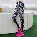 2016 New Women Black Striped Printed Mesh Ptachwork Leggings Casual Clothes Fitness Breathable Slim Sexy Female Pants