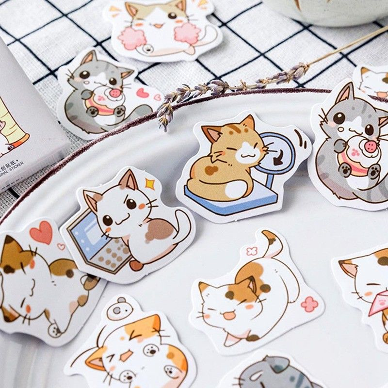45 Pcs/set Cute Cat Design Kawaii Japanese Decoracion  Stickers Scrapbooking Planner DIY Sticekrs