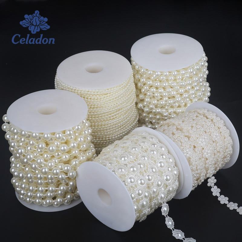 Grace Florist 98 Feet Fishing Line Artificial Pearls Beads Garland Chain for Flower Garland Wedding Decoration /& DIY Bridal Bouquet(8+3mm) Pink
