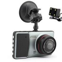 New Top Grade Mini Câmera Do Carro 1296 P de Lente Dupla DVR Carro Estacionamento Traço Cam Video Recorder Night Vision 170 Wide Angle Car Black Box