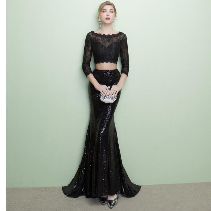 6b799c7b9cf80 US $98.99 27% OFF|CEEWHY Three Quarter Sleeve Black Lace Dress Two Piece  Formal Mermaid Gown Court Train Sequined Evening Dress Abendkleider-in ...