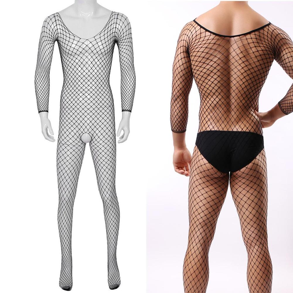 Men See-through Fishnet Seamless Mesh Body Stockings Crotchless Bodystocking Underwear Pantyhose Lingerie Plus Size For Women