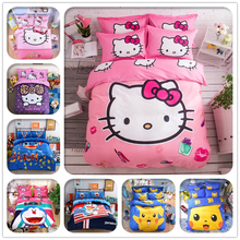 Cartoon 3d Bedding Set Hello Kitty Mickey Mouse Pikachu Printed for Kids Cotton Bed Linen 4pcs