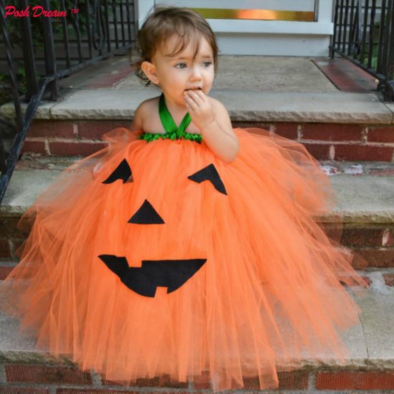 POSH DREAM Orange Little Pumpkin Kids Girls Halloween Costume Lantern Baby Pumpkin Cosplay Tutu Dress Adorable Baby Girls Dress pumpkin halloween plus size spaghetti strap dress
