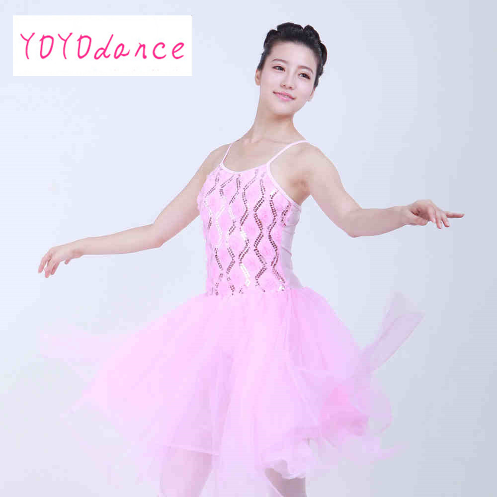 women dresses Ballet skirt suspenders hand-embroidered veil sequin stage dance costumes performance pink women dancewear 32008