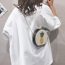 Crossbody Bags for Women Pineapple Round Circular Summer Beach Straw Bag Shoulder Rattan 2019 Handbag Female