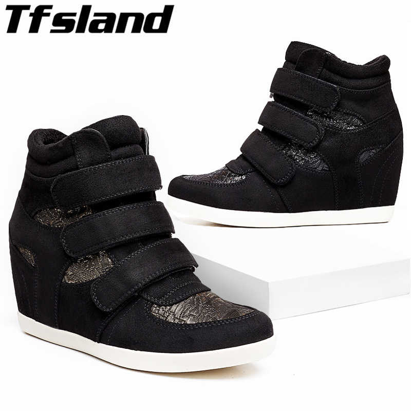 Breathable Height Increase Sneakers Women Wedge Warm Plush Shoes High Heels Ankle Boots Soft Sole Skateboarding Shoes Zapatillas