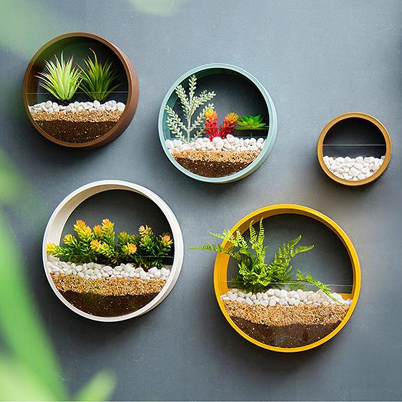 Modern Wall Vase Iron Art Round Hanging Vases Artificial Flower Plant Holder Shelf Planter / Home Decoration Crafts Bonsai 2019